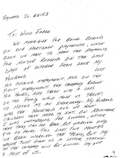 Wells Fargo Mortgage hardship letter